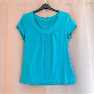 🟣 ANN TAYLOR Factory turquoise shirred tee M EUC